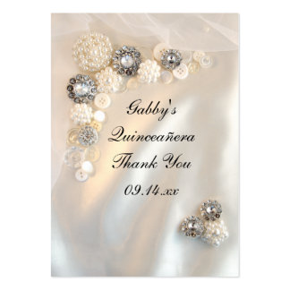 Pearl and Diamond Thank You Quinceañera Favor Tags Business Card
