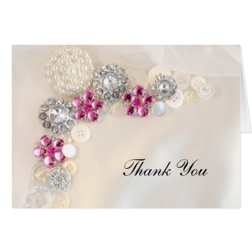 Pearl and Pink Diamond Button Bridesmaid Thank You Greeting Cards