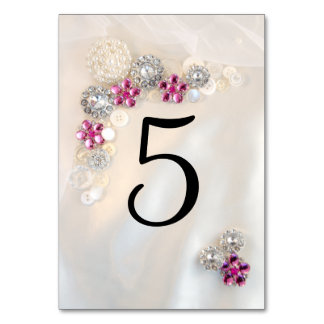 Pearl and Pink Diamond Buttons Table Numbers