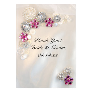 Pearl and Pink Diamond Buttons Wedding Favor Tags Business Card Templates