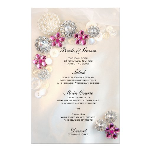 Pearl and Pink Diamond Buttons Wedding Menu Stationery