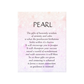 Pearl birthstone - June poem art canvas