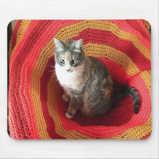 Pearl Cat on Afghan Mouse Pad