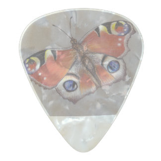Pearl Celluloid Guitar Pick with Peacock Butterfly