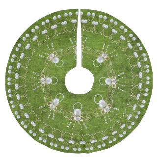 Pearl Christmas Angel of Joy, Green Circle Custom Brushed Polyester Tree Skirt