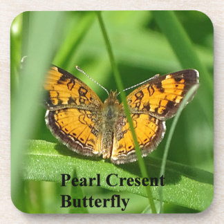 Pearl Crescent Butterfly Beverage Coasters