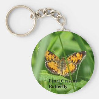 Pearl Crescent Butterfly Key Ring