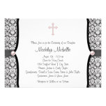 Pearl Cross Pink Black Damask Christening Custom Announcement