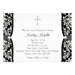 Pearl Cross White and Black Damask Christening Invite
