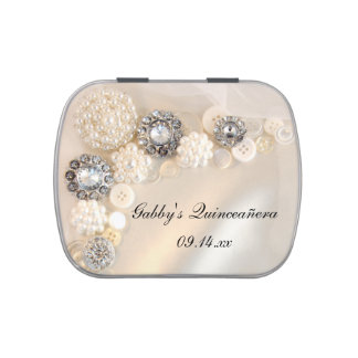 Pearl Diamond Buttons Quinceanera Favor Candy Tin