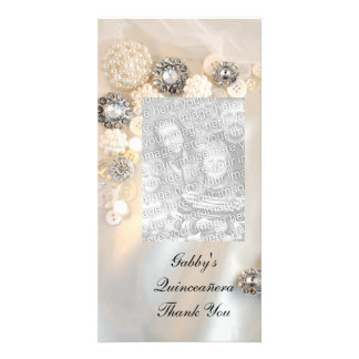 Pearl Diamond Buttons Quineañera Thank You Photo Greeting Card