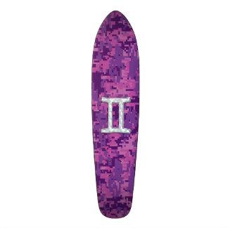 Pearl Gemini Zodiac Symbol on Digital Camouflage Skateboard