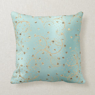 Pearl Gold Foxier Rose Blush Metallic Dots Lines Cushion