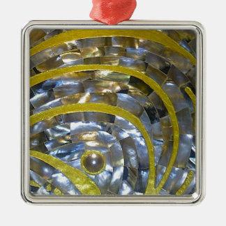 Pearl & Gold Silver-Colored Square Decoration