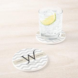 Pearl Grey Chevron Sandstone Drink Coaster