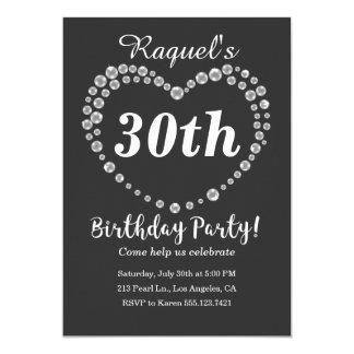 Pearl Heart Elegant Birthday Party Invitation
