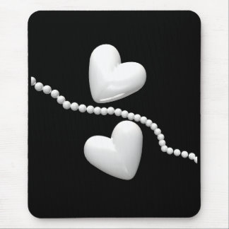 Pearl Hearts on Black Mouse Mat