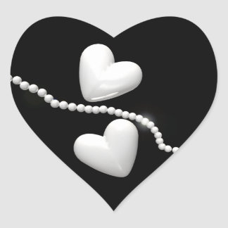 Pearl Hearts on Black Heart Sticker