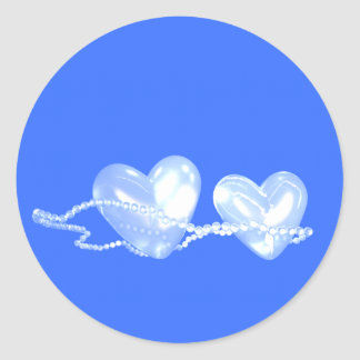 Pearl Hearts on Blue Round Sticker