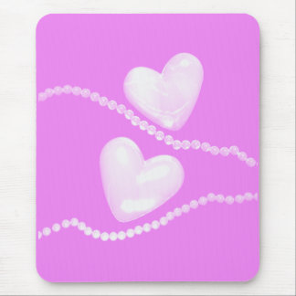 Pearl Hearts on Pink Mouse Pads