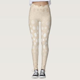 Pearl Ivory Dots Silver Gray Pastel Confetti Glam Leggings