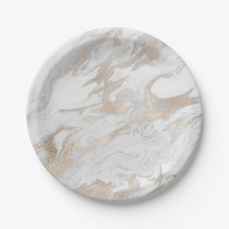 Pearl Ivory Titanium White Gold Marble Party Vip Paper Plate