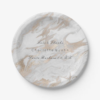 Pearl Ivory Titanium White Gold Marble Wedding Vip 7 Inch Paper Plate