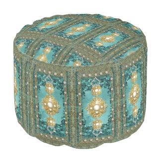 Pearl jewelry gold blue rhinestone / BOHEMIAN Pouf