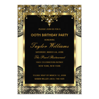 Pearl Lace Gold Cream Glamour Birthday Party 13 Cm X 18 Cm Invitation Card