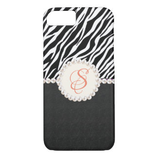 Pearl Monogram Zebra Print iPhone Case
