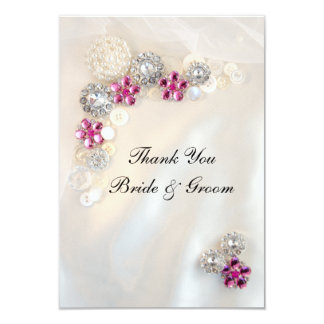 Pearl Pink Diamond Buttons Wedding Thank You Notes Personalized Announcements