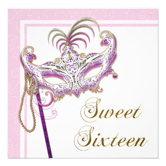 Pearl Pink Sweet Sixteen Masquerade Party Personalized Invitation