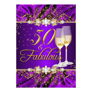 Pearl & Purple Gold Swirl 50 & Fabulous Invitation