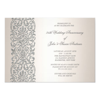 Pearl Silver Border 25th Anniversary Party 13 Cm X 18 Cm Invitation Card