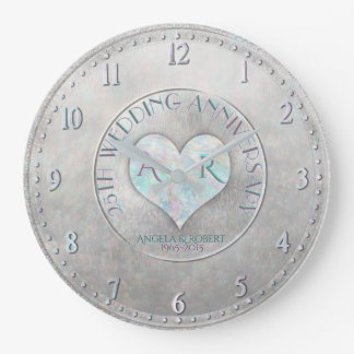 Pearl Silver Heart Monogram Wedding Anniversary Wallclocks