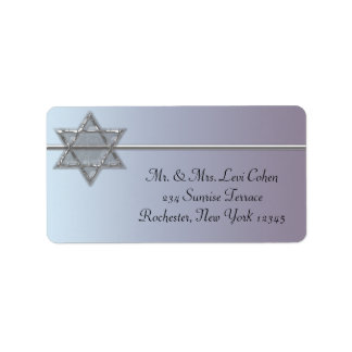 Pearl Silver Star of David Address Labels