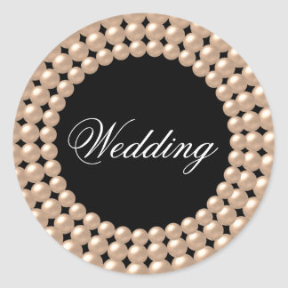 Pearl Strings Jeweled Wedding Sticker