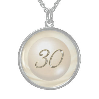 Pearl Themed 30th Wedding Anniversary Gifts Sterling Silver Necklace