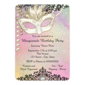 Pearl Watercolor Masquerade Party 13 Cm X 18 Cm Invitation Card