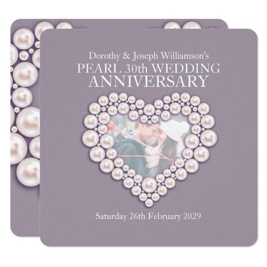 Pearl wedding anniversary 30 years photo invites