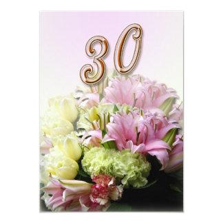Pearl Wedding Anniversary Invitation Pink bouquet