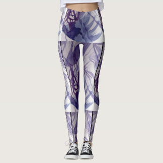 Pearl with ink abstract lines leggings