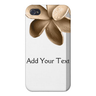 Pearled Grey and Champagne Gold Plumeria iPhone 4/4S Cover