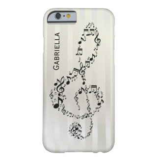 Pearlesque Stripes Black Treble Clef Music Notes Barely There iPhone 6 Case
