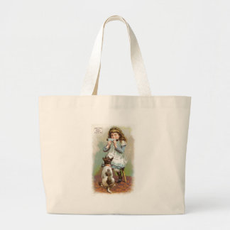 Pearline Girl With Dog Canvas Bags