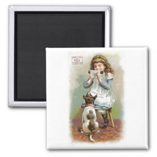 Pearline Girl With Dog Square Magnet