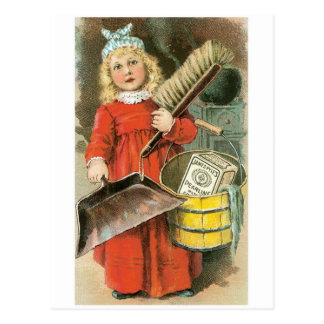 Pearline Little Girl Cleaning Postcard