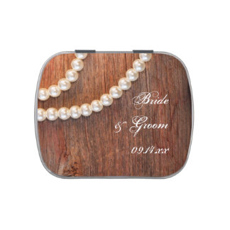 Pearls and Barn Wood Country Wedding Favor Jelly Belly Candy Tin