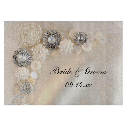 Pearls and Diamonds Button Wedding Cutting Board