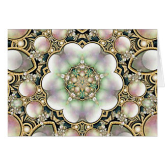 Pearls and Gold Kaleidoscope Greeting Card